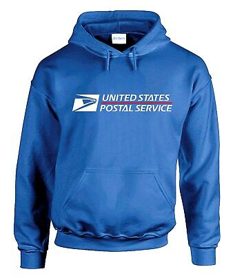 USPS POSTAL HOODIE #2 Hooded Sweatshirt Logo on Chest United States US Royal