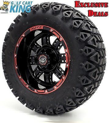 "12"" Madjax TRANSFORMER Red/Blk Wheel and 23x10.5-12 Golf Cart (6-PLY) Tire Combo"