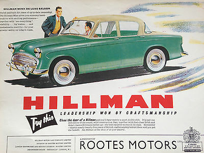 "HILLMAN MINX DE LUXE # ORIGINAL VINTAGE AUTOMOTIVE ADVERT RE-PRINT # 12""x 8"""