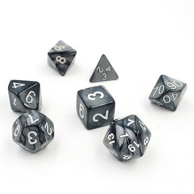 7pcs/Set TRPG Games Dungeons & Dragons D4-D20 Multi-sided Dices Grey Black