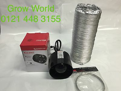 "4"" Inch 100mm Inline Extractor Intake Grow Room Fan 3M Ducting & 2 Ducting Clips"