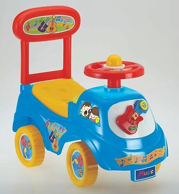 Push Along Sit On Ride On Car Quality Plastic Toy Children Music Theme Blue