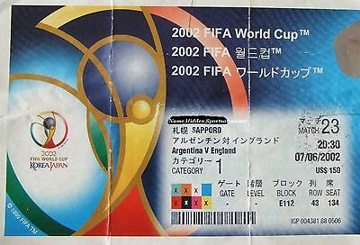 Argentina v England 7/6/02 Sapporo – World Cup Ticket