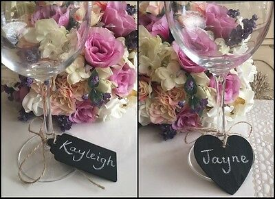 Vintage Chalkboard Name Tag Rustic Wedding Name Setting Table Place Heart 100 50