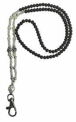 Black With Pearl Beaded Necklace Lanyard ID Badge Pass Card Holder