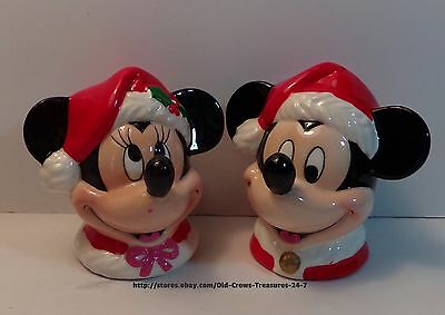 ENESCO Christmas Mickey & Minnie Mouse Salt And Pepper Shakers Collectible