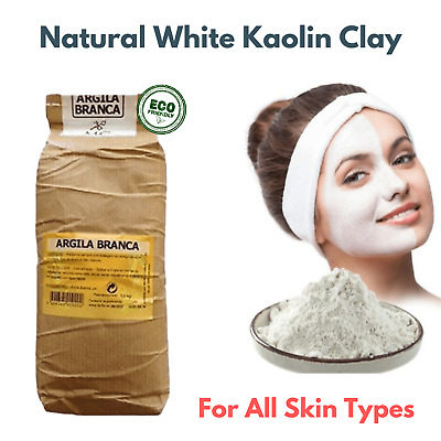Pure Organic White Clay Kaolin Fine Powder Hair Face Mask All Skin 1000g - 1 Kg