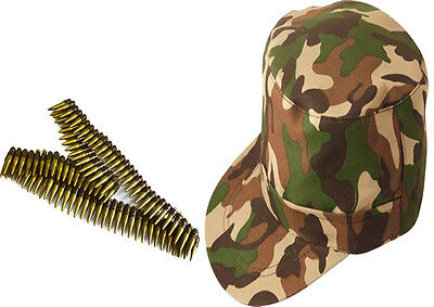 Adults Army Cap 96 Bullets Belt Camouflage Unisex Fancy Dress Costume Set