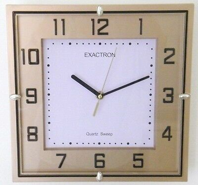 "11"" Square Large Golden Silent Sweep Quartz Wall Clock Home Office School Clock"
