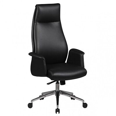 AMSTYLE boss chair Franklin real leather office chair black swivel desk chair