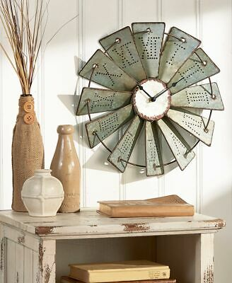 Rustic Metal Embossed Windmill Wall Clock Over 1 Foot Round Farm Country Clocks