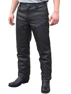 JTS 133 Mens Custom Motorcycle Leather Tie Laced Sided Trouser Jean Black T