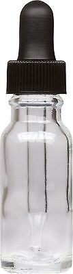25 Pack Clear Glass Boston Round Bottle w/ Black Glass Dropper 0.5 oz