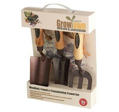 Spear & Jackson ELEMENTS3PS Elements Grow Your Own 3pc Hand Trowel Fork Gift Set