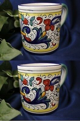 Set of 2 DERUTA RICCO Italian Pottery Coffee Mug Coffee Cup ITALY