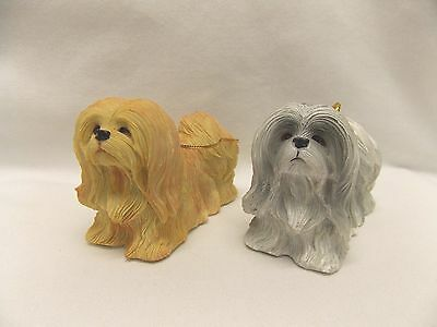Lhasa Apso Dog Resin Material Christmas Tree Ornament 3 1/2x2 1/4 In Two Colors