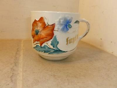 Antique Porcelain Raised Detail Hand Painted Flower Forget Me Not Mug Cup