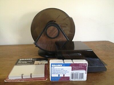 Vintage lot of 2 Rolodex Bates card file system MCM round w/ 2 packs new cards