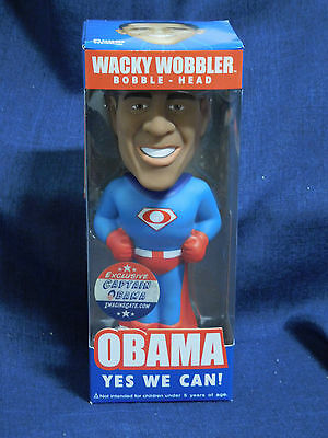 """Wacky Wobblers Bobble-Head Exclusive President Captain Obama """"Yes We Can!"""" Funko"""