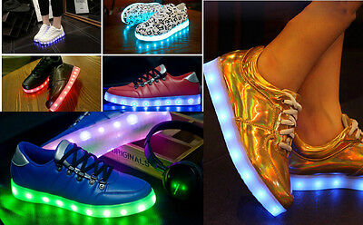 Men Women Youths Trainers USB Luminous LED Lights Lace Up Casual Sneakers Shoes