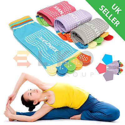 Yoga Socks Non Slip Pilates Massage 5 Toe Socks with Grip Exercise Gym Big Range