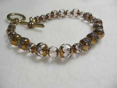 Pink With Bronze Crystal Bracelet (#t19)