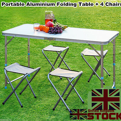 Portable Folding Camping Picnic Table Party Outdoor Garden BBQ Chair Stools Set