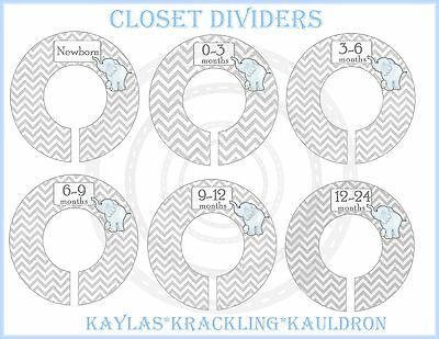PRE-ASSEMBLED Custom Closet Dividers....Grey Chevron Blue Elephant Baby Dividers