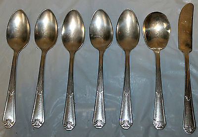 VINTAGE WM A ROGERS Extra Plate SILVER PLATE 5 Tea Spoons Spreader & Jelly Spoon