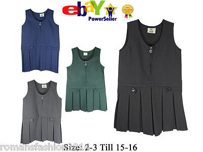School Girls Pinafore Box Pleated Skirt School Uniform Elasticated Waist Dress
