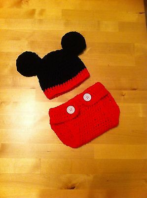 CROCHET BABY MINNIE / mickey mouse nappy cover hat and shoes