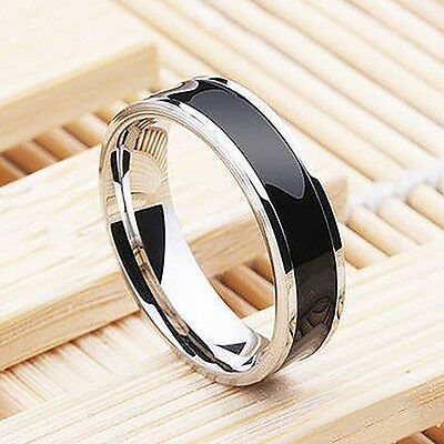 Mens Jewelry Free Shipping Vintage Black Stainless Steel Ring Band Titanium 6mm