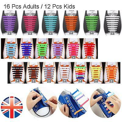*UK Seller* 12/16X Silicone Elastic Shoelaces Kids Adults No Tie Shoe Lace