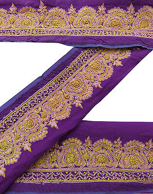 Vintage Indian Sari Border Used Embroidered 1YD Trim Sewing Purple Ribbon Lace