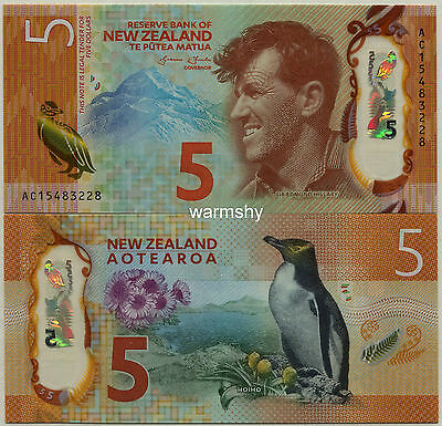 New Zealand 2015 Polymer Banknotes 5 Dollars UNC