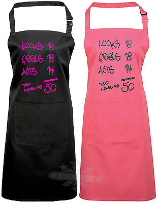 50th birthday apron gift celebration looks,feels,acts  humor funny 50th