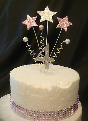 glitter silver baby pink star - trim - any age anniversary birthday cake topper