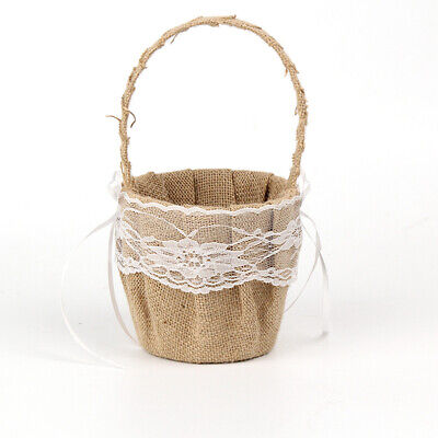 Hessian Burlap Jute Floral Lace Flower Girl Basket Wedding 23X12.5CM