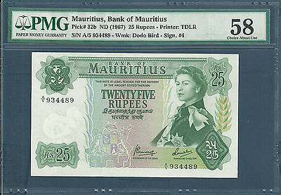 Mauritius 25 Rupees, 1967, P 32b, Sign 4, A/5 984489, PMG 58 aUNC