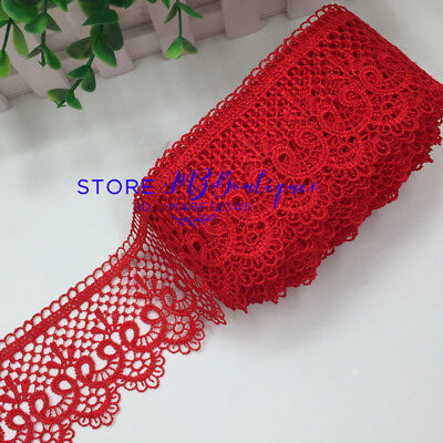 FP85 1 Yard Red Lace Trim Ribbon For Dress Skirt Embroidered DIY Sewing Crafts