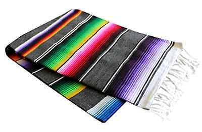 "Del Mex X-large Mexican Serape Blanket Gray 82"" By 62 ."