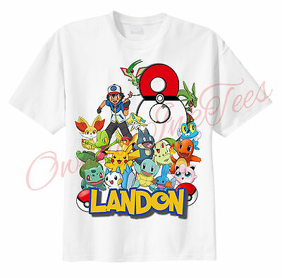 POKEMON Pokeball Number CUSTOM t-shirt Personalize Birthday gift ADD NAME/AGE