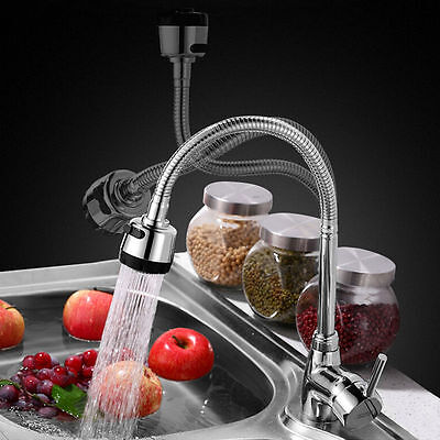 One Lever Mixer Faucet Chrome 360° Swivel Spout Hot Cold Water Tap Kitchen Sink