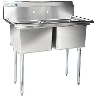 "NEW 41"" 2 Compartment Stainless Steel Commercial Sink without Drainboards"