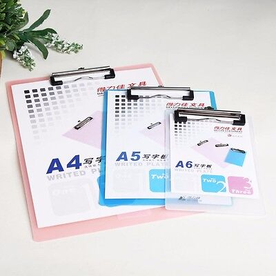 A6/A5/A4 Plastic Clipboard Metal Clip Thick Paper Writing Plate Note Board #Y5