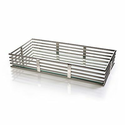 Zodax IN-5628 Pipe Design Polished Nickel and Glass Rectangular Tray