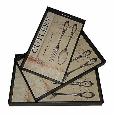 Cheung's FP-3533-3A Cutlery Design Trays with Side Handles (Set of 3)