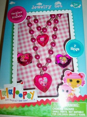LaLaLoopsy Beaded Heart Jewelry Set - Necklace - Bracelet - 2 Rings - New