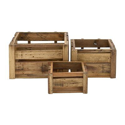 Woodland Imports 45260 Rural And Arty Wood Storage Crates (set of 3)
