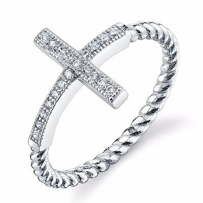 Women's Dainty 925 Sterling Silver Sideways CZ Cross Ring with Cable shank